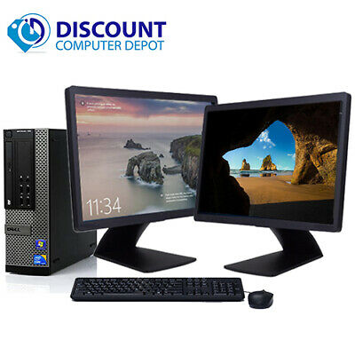 "Dell Optiplex Desktop Computer Core i5 8GB 1TB Dual 22"" LCD's WiFi Windows 10"