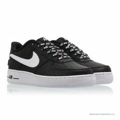 Boys Nike Air Force 1 GS NBA Shoes Black/White 820438-015 Size 7y