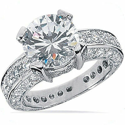 3.80 carat Round Diamond Engagement Ring 2 ct GIA certified F SI1 14K White Gold