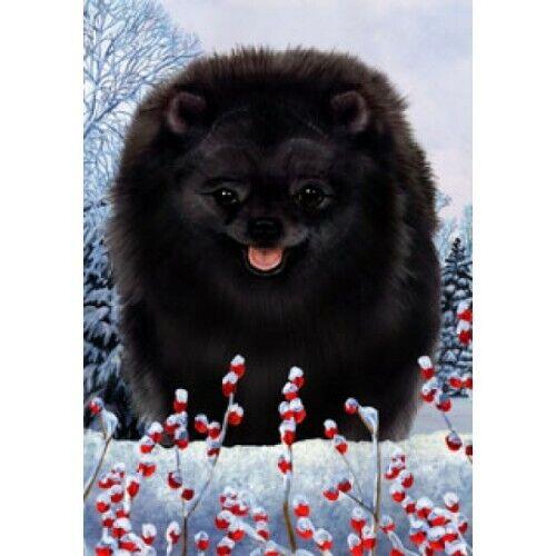 Winter House Flag - Black Pomeranian 15255