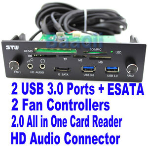 5-25-Bay-Front-Panel-20-Pin-to-USB-3-0-HUB-2-0-Card-Reader-e-SATA-HD-Audio-1394