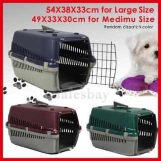 Portable Plastic Dog Cat Pet Carrier Travel Cage Kennel