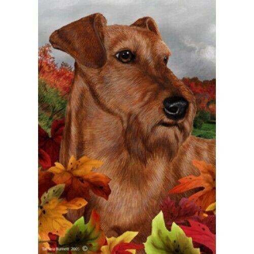 Fall House Flag - Irish Terrier 13220