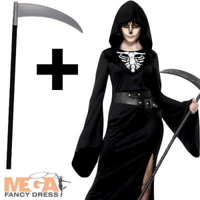 Grim Reaper + Scythe Ladies Halloween Fancy Dress Skeleton Adult Women Costume (Grim Reaper Costume For Women)