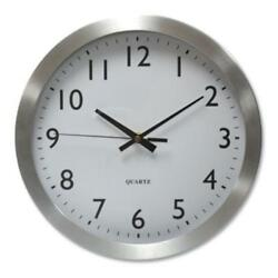 Universal Office Products UNV10425 Brushed Steel Finish Wall Clock, 12, Silver,