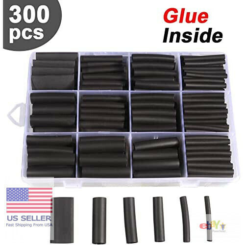300Pcs 3 1 Heat Shrink Tubing Kit Dual Wall Adhesive Marine Tube Electrical Wire