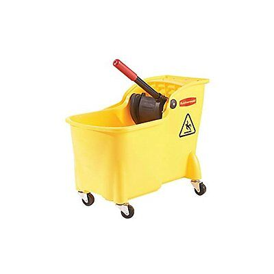 Professional Buckets Plus Commercial Wringer Mop Bucket 28 Qt. Fg728100yel