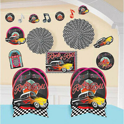 I LOVE ROCK AND ROLL ROOM DECORATING KIT (10pc) ~ Birthday Party Supplies - Rock And Roll Room Decor
