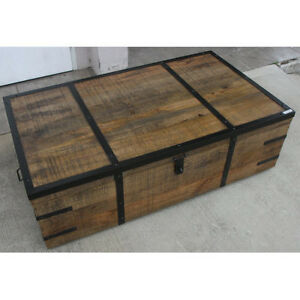 New Montinegro Industrial Mango Wood Coffee Table Trunk Metal Edging Stunning Ebay