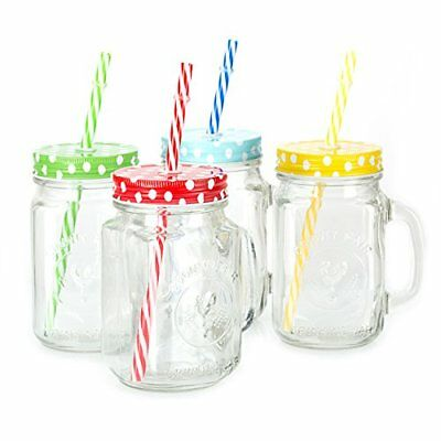 Mason Jar Mugs with Handle, multi COLORED Lids and Plastic Straws. 16 Oz. Each. - Plastic Mason Jars With Handles