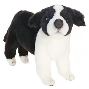 Hansa Border Collie Black White Plush 15 Stuffed Animal Toy With