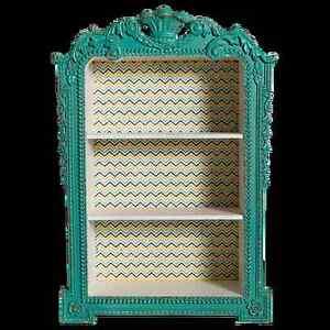 Shabby Chic French Provincial Wall Mounted Shadow Box Shelf Brand New Aqua
