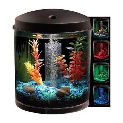 Aquarium Kit 360 Fish Tank W LED Light 2-Gallon Filter Tubing Air Pump Kid Small