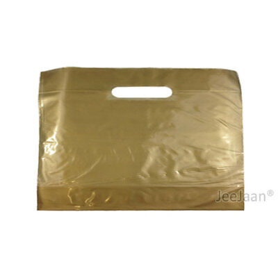 100 Gold Plastic Carrier Bags 22