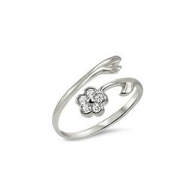925 Sterling Silver Toe Ring Flower Jewelry Jewellery Adjustable