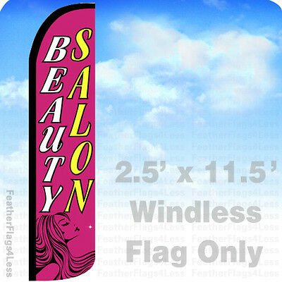 Beauty Salon - Windless Swooper Feather Flag 2.5x11.5 Banner Sign - Pz