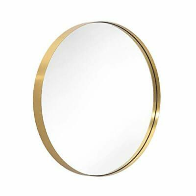 Gold Round Mirror for Bathroom Circle Wall Mounted Brushed Brass Metal Frame