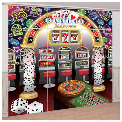 CASINO NIGHT JUMBO WALL POSTER DECORATING KIT (9pc) ~ Birthday Party Supplies - Casino Party Decor