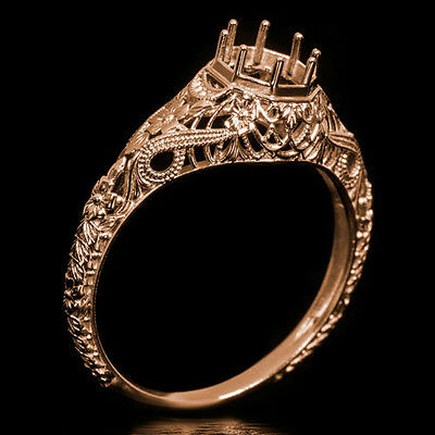 ART DECO SEMI MOUNT FILIGREE ENGRAVED ENGAGEMENT COCKTAIL RING SETTING ROSE GOLD