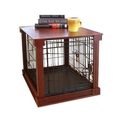 Furniture Pet Crate Dog Kennel Wood Medium Size Cage Wooden End Table Bed Cat