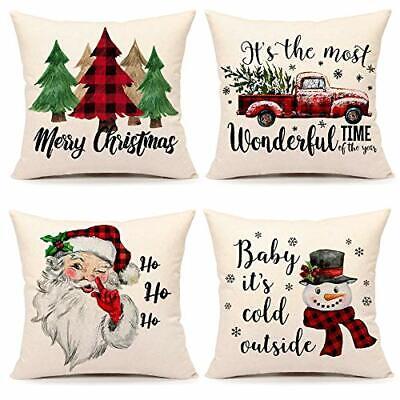 Christmas Pillow Covers 20x20 Set of 4 Farmhouse Christmas Decor Red Black Buffa