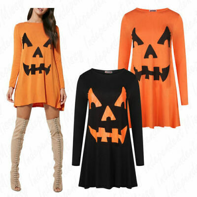 Scary Dresses For Halloween (Ladies Women's Halloween Pumpkin Swing Dress Scary Outfit Costume Plus)
