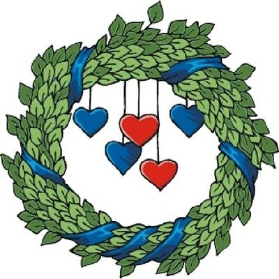 30 Custom Blue Heart Wreath Personalized Address Labels