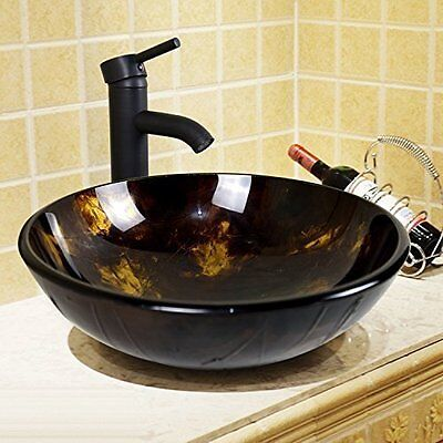 Round Bathroom Tempered Glass Vessel Sink Drain Faucet Vanity Basin Bowl Combo