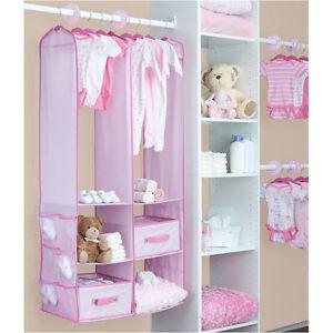 Pink baby girl nursery hanging closet storage bin for Nursery hanging storage