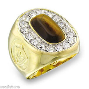 Mens-17cz-Tiger-Eye-Stones-18kt-Gold-Plated-Ring