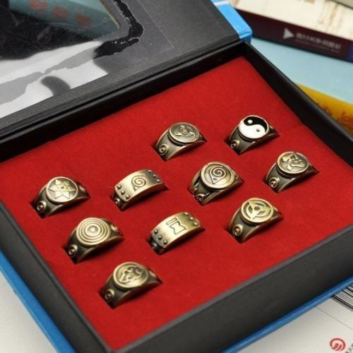 Naruto Akatsuki Members Sharingan Rings SET 10pc Cosplay Sasuke Kakashi Necklace