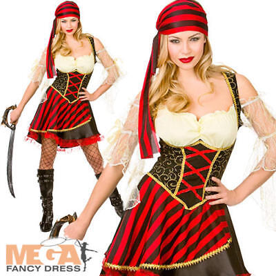 Glamorous Pirate Ladies Fancy Dress Ship Mate Buccaneer Womens Adults Costume