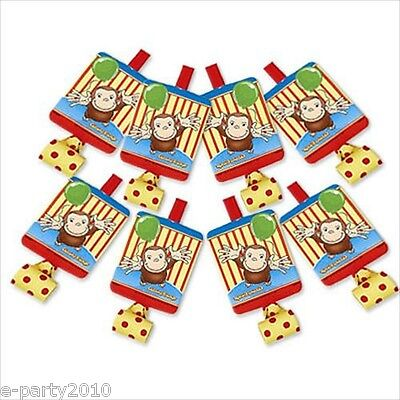 CURIOUS GEORGE BLOWOUTS (8) ~ Birthday Party Supplies Favors PBS Kids Polka Dots