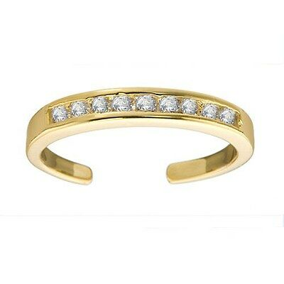 14K Gold over .925 Silver White CZ Channel-Set Toe Ring