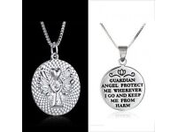 "GUARDIAN ANGEL PROTECT ME' ENGRAVED GOOD LUCK NECKLACE 18"" £8"