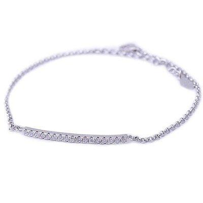 Micro Pave Cubic Zirconia Curve Bar .925 Sterling Silver Bracelet