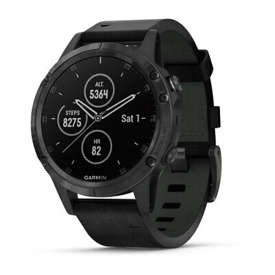 Garmin Fenix 5 Plus Sapphire Black w/ Black Leather Band Multipsort GPS Watch