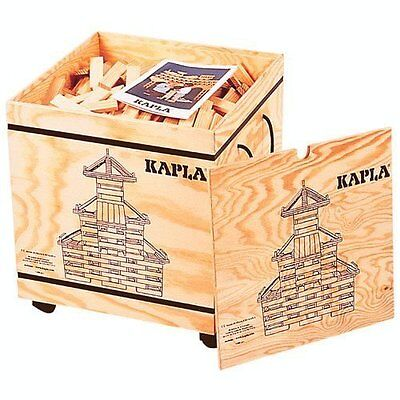 Kapla 1000 Holzbausteine  im Holzkasten mit Rädern u. Bauanleitung NEU, OVP