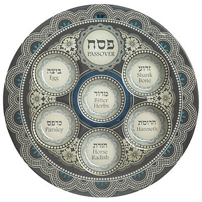 Glass Passover Seder Plate - Pesach Jewish Holiday Gift - Blue & Gray Glass Seder Plate