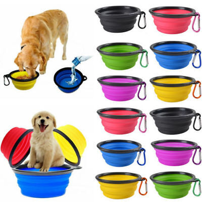- Pet Dog Portable Silicone Collapsible Travel Feeding Bowl Food Water Dish Feeder