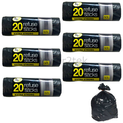 120 x Extra Strong Black 50L Large Refuse Sacks Waste Rubbish Bags Bin Liners UK