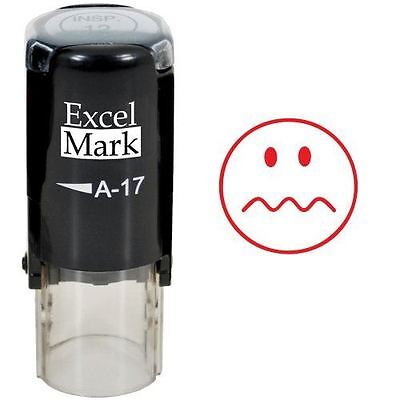 New Excelmark Squiggly Line Face Round Self Inking Teacher Stamp A17 Red Ink