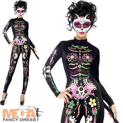 Sugar Skull Cat Ladies Fancy Dress Halloween Day of the Dead Women Adult Costume