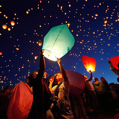 7pcs Mix color Wishing Lanterns Chinese Paper Sky Candle Wedding Flying Party - Flying Paper Lanterns