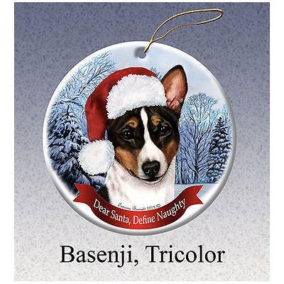 Basenji Tri Color Howliday Porcelain China Dog Christmas Ornament