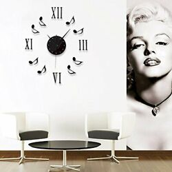 chinatera Modern Mute DIY Large Wall Clock 3D Sticker Home Office Decor Black