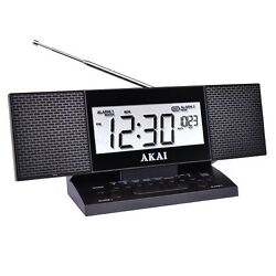 Akai Autoset FM Stereo Alarm Clock Radio with Device Fast Charging 2.4A USB Port