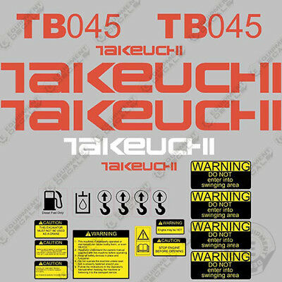 Takeuchi Tb 045 Mini Excavator Decals Equipment Decals Tb045 Tb-045 Tb45 Tb 45