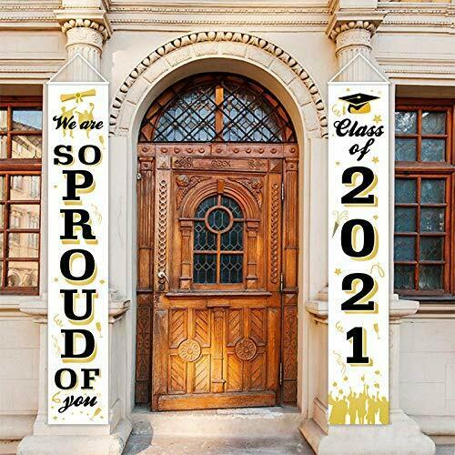 Graduation Porch Sign - Class of 2021 & Congrats Graduation Hanging Banner Set