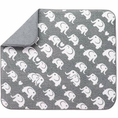 Reversible Baby Bottle Drying Mat 16 Inches by 18 Inches Grey Elephant Print New